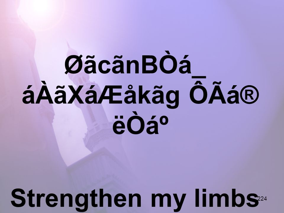 224 ØãcãnBÒá_ áÀãXáÆåkãg ÔÃá® ëÒẠStrengthen my limbs for Your service,