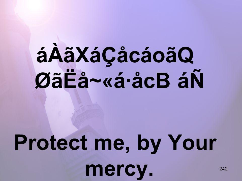 242 áÀãXáÇåcáoãQ ØãËå~«á·åcB áÑ Protect me, by Your mercy.