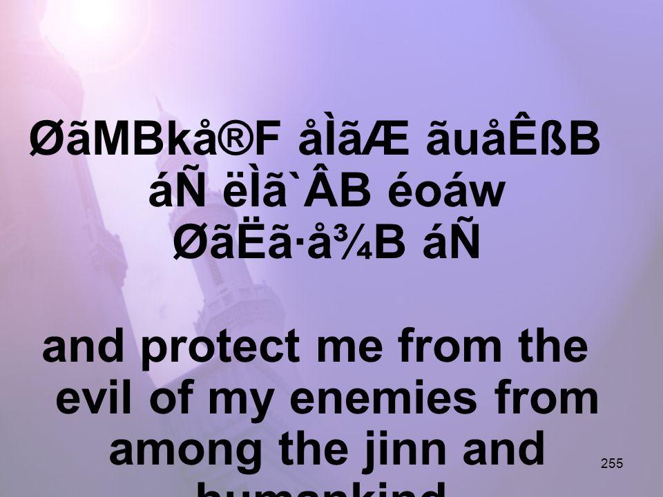 255 ØãMBkå®F åÌãÆ ãuåÊßB áÑ ëÌã`ÂB éoáw ØãËã·å¾B áÑ and protect me from the evil of my enemies from among the jinn and humankind.