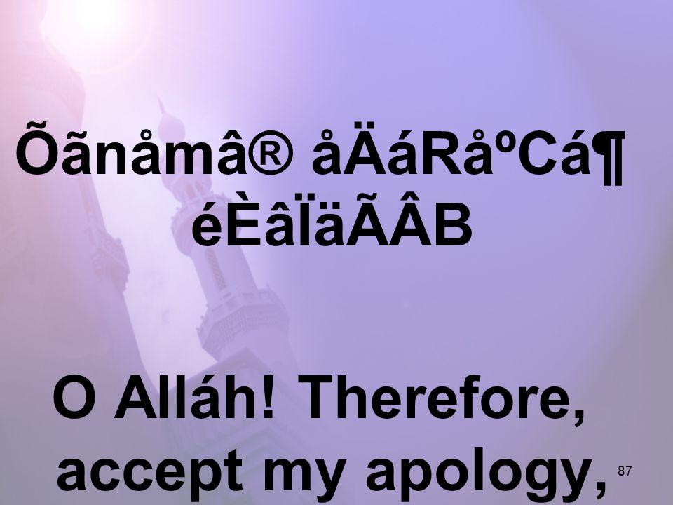 87 Õãnåmâ® åÄáRåºCᶠéÈâÏäÃÂB O Alláh! Therefore, accept my apology,