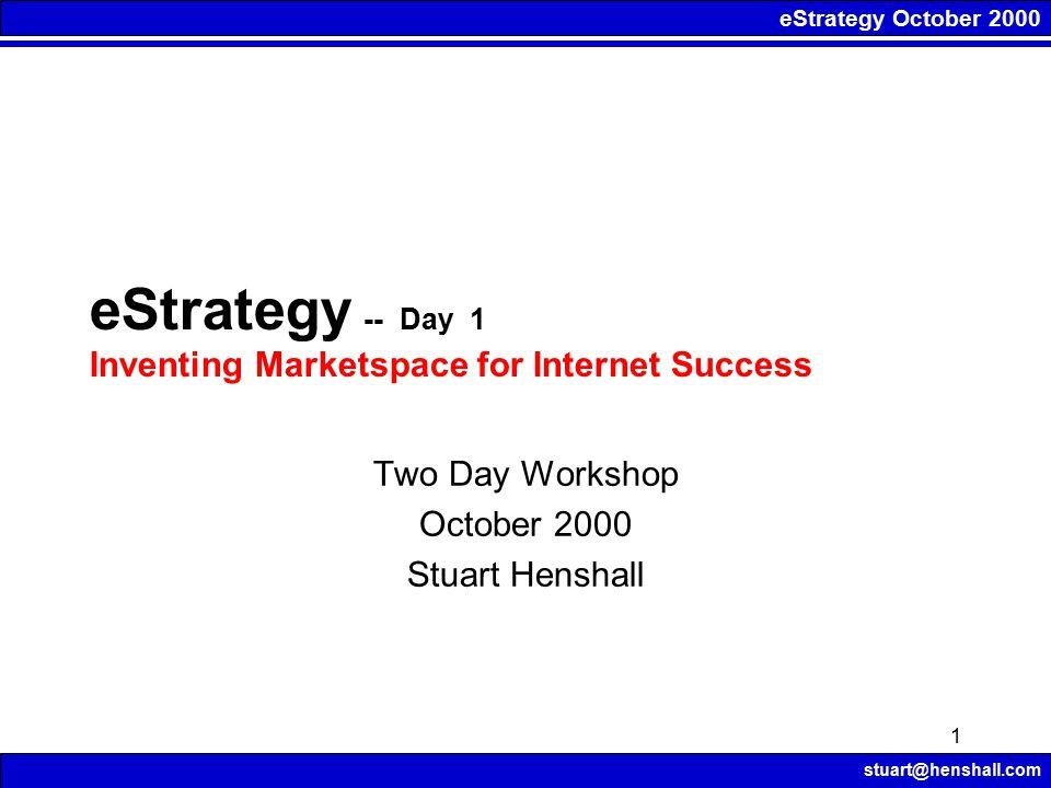eStrategy October 2000 stuart@henshall.com 1 eStrategy -- Day 1 Inventing Marketspace for Internet Success Two Day Workshop October 2000 Stuart Hensha