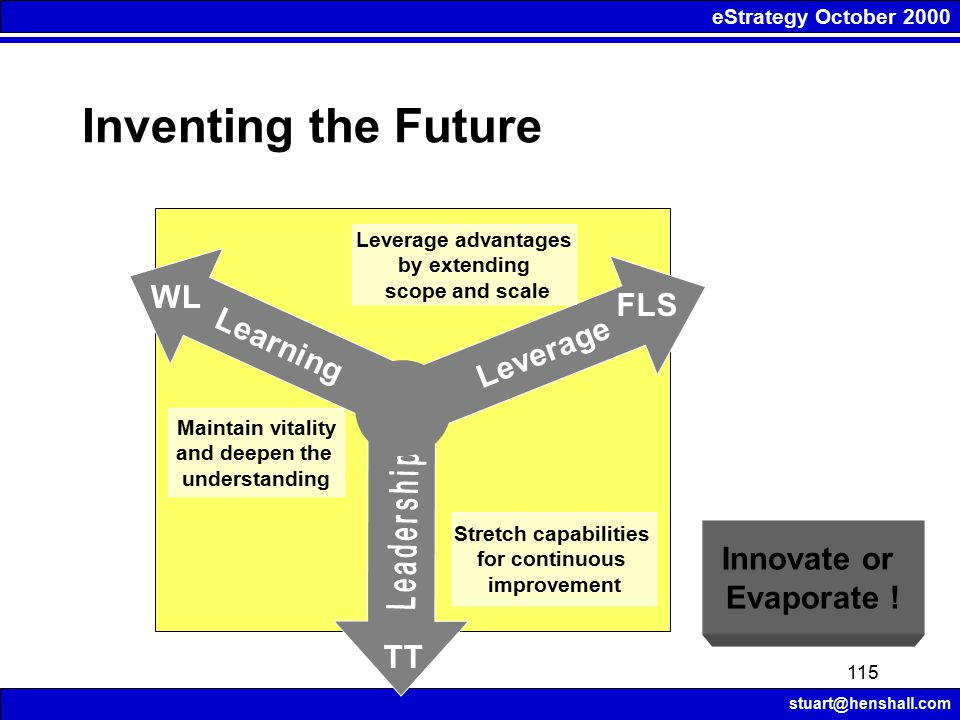 eStrategy October 2000 stuart@henshall.com 115 Inventing the Future Learning Leverage Leverage advantages by extending scope and scale Maintain vitali