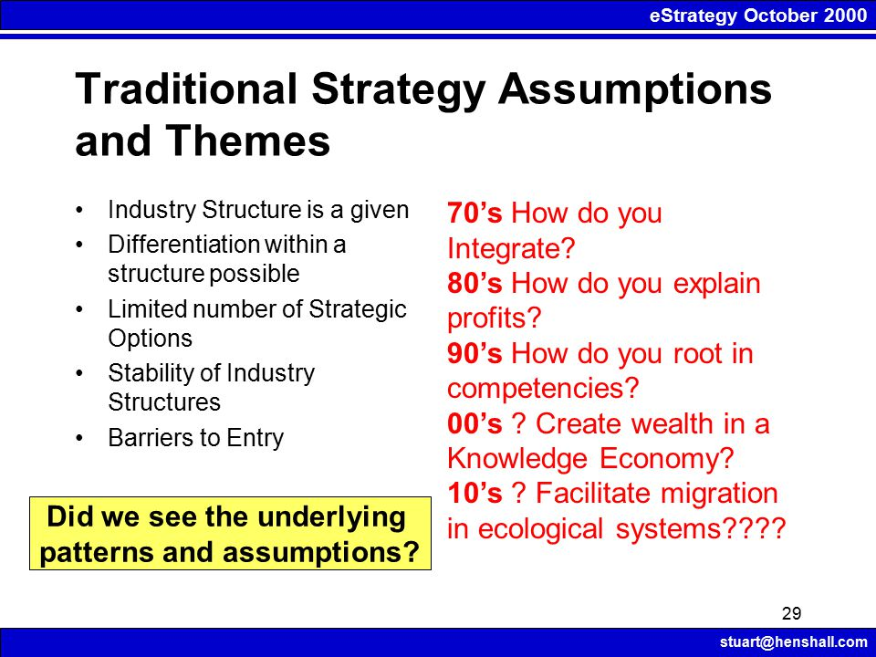 eStrategy October 2000 stuart@henshall.com 29 Traditional Strategy Assumptions and Themes Industry Structure is a given Differentiation within a struc