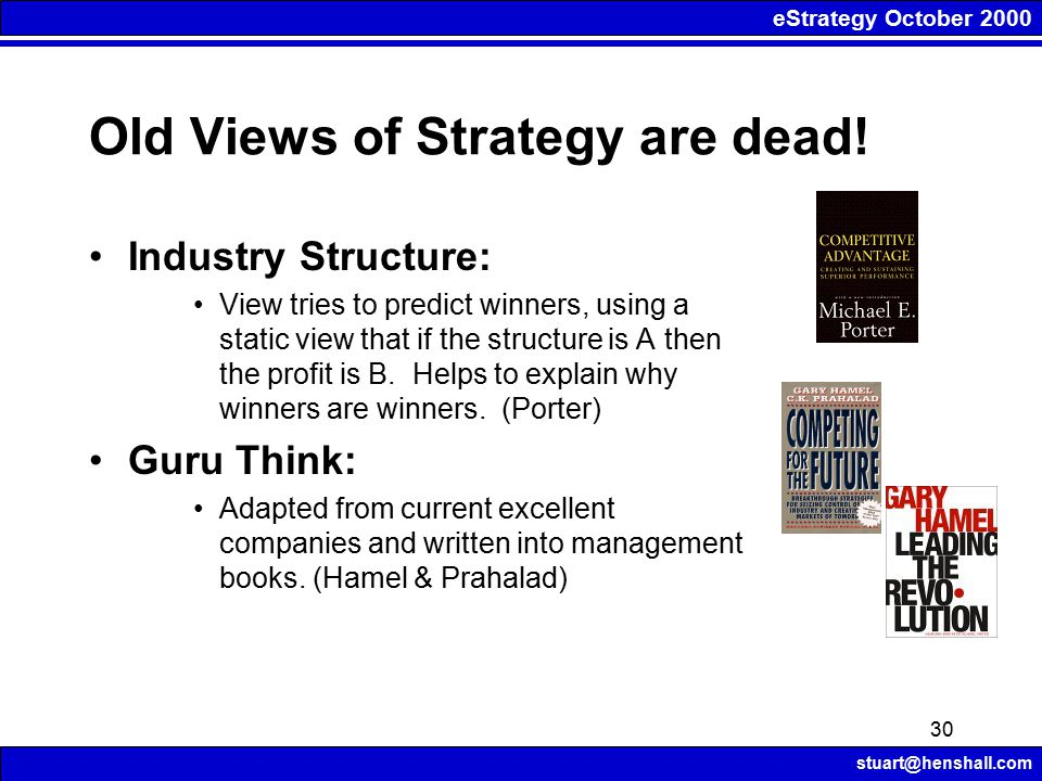 eStrategy October 2000 stuart@henshall.com 30 Old Views of Strategy are dead.