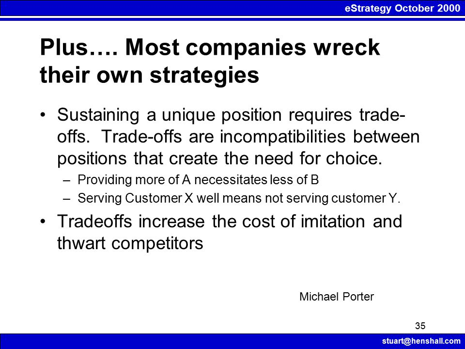 eStrategy October 2000 stuart@henshall.com 35 Plus…. Most companies wreck their own strategies Sustaining a unique position requires trade- offs. Trad