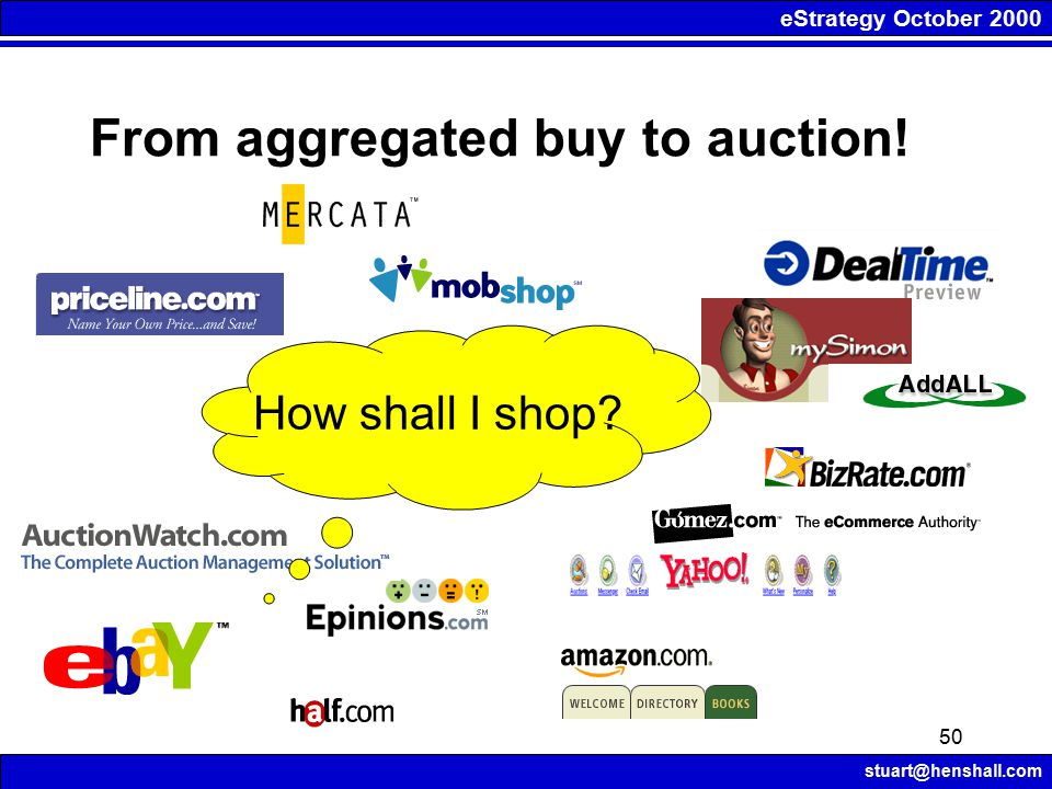 eStrategy October 2000 stuart@henshall.com 50 How shall I shop From aggregated buy to auction!