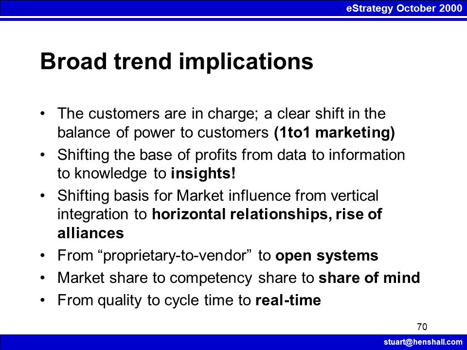 eStrategy October 2000 stuart@henshall.com 70 Broad trend implications The customers are in charge; a clear shift in the balance of power to customers (1to1 marketing) Shifting the base of profits from data to information to knowledge to insights.