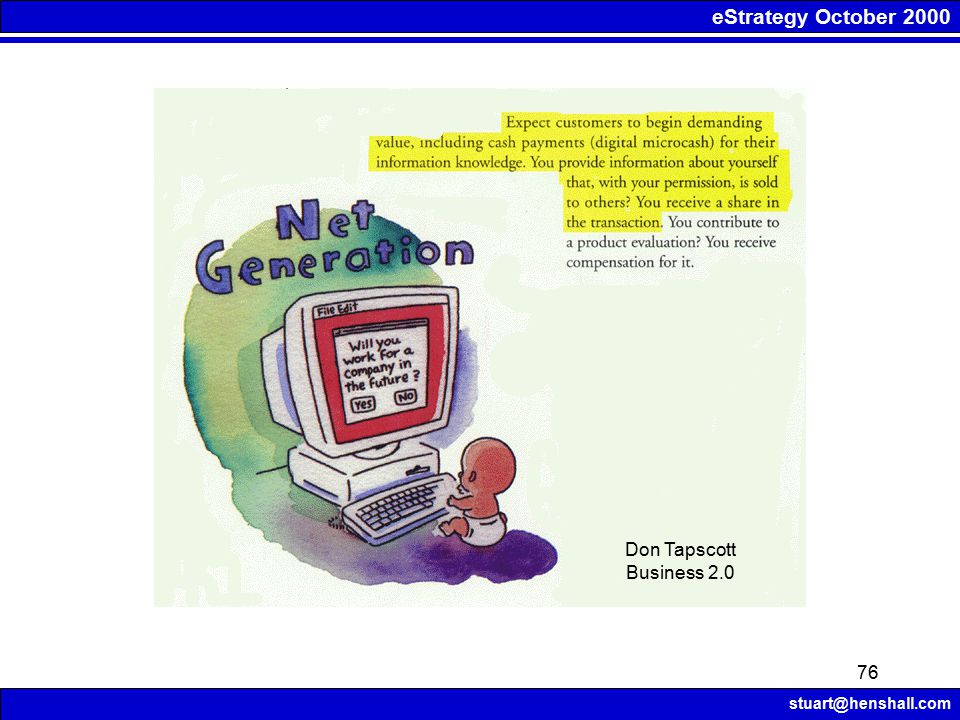eStrategy October 2000 stuart@henshall.com 76 Don Tapscott Business 2.0