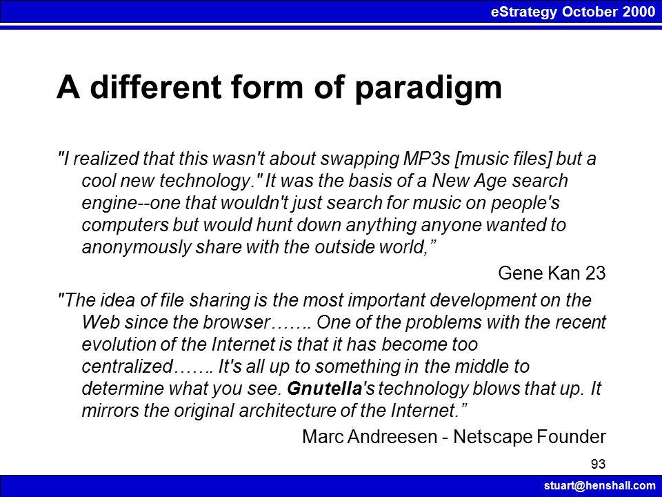 eStrategy October 2000 stuart@henshall.com 93 A different form of paradigm