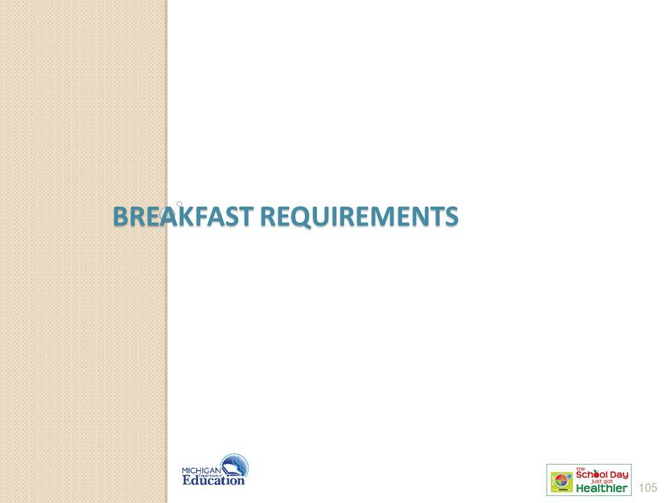 BREAKFAST REQUIREMENTS 105