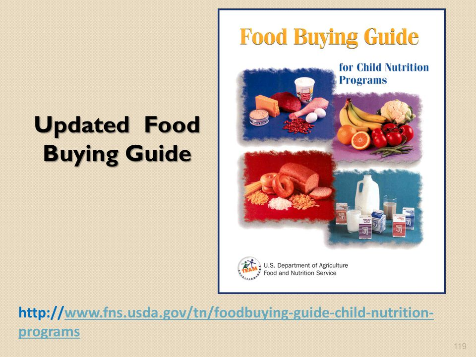 Updated Food Buying Guide http://www.fns.usda.gov/tn/foodbuying-guide-child-nutrition- programswww.fns.usda.gov/tn/foodbuying-guide-child-nutrition- programs 119