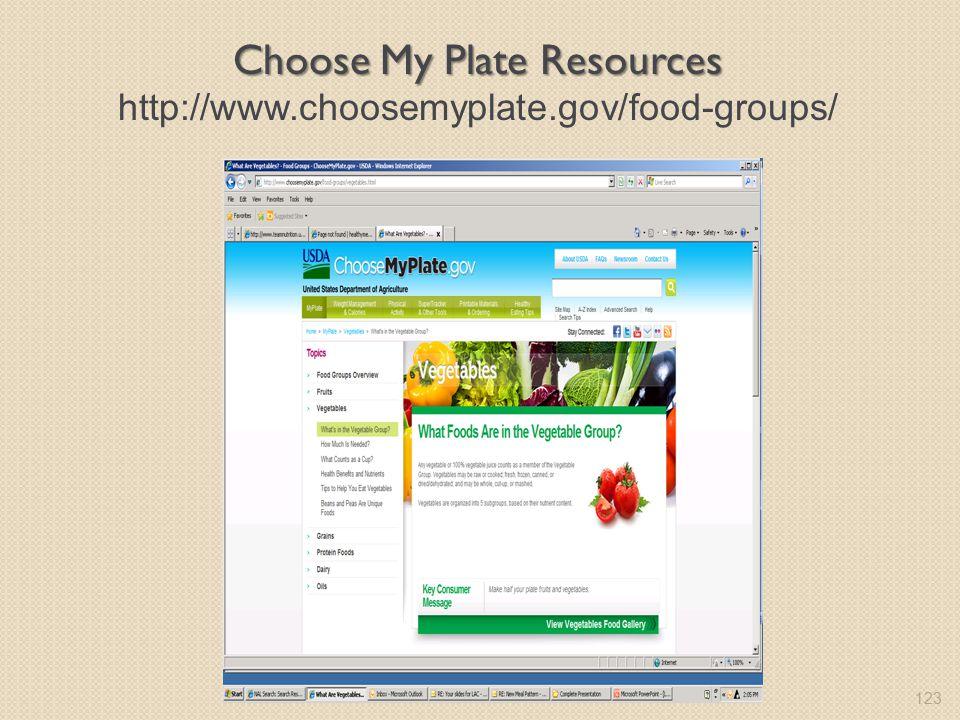 123 Choose My Plate Resources Choose My Plate Resources http://www.choosemyplate.gov/food-groups/
