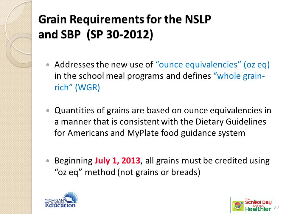 """Grain Requirements for the NSLP and SBP (SP 30-2012) Addresses the new use of """"ounce equivalencies"""" (oz eq) in the school meal programs and defines """"w"""