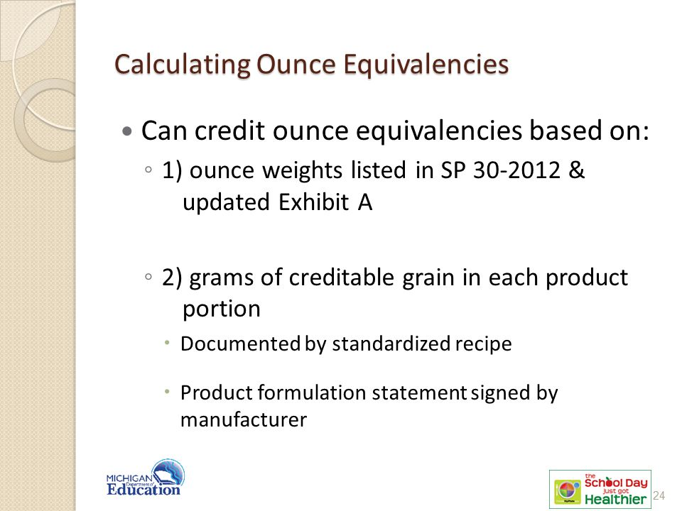 Calculating Ounce Equivalencies Can credit ounce equivalencies based on: ◦ 1) ounce weights listed in SP 30-2012 & updated Exhibit A ◦ 2) grams of creditable grain in each product portion  Documented by standardized recipe  Product formulation statement signed by manufacturer 24