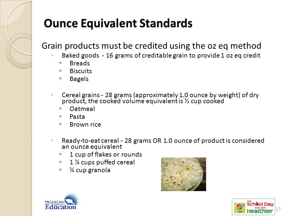 Grain products must be credited using the oz eq method ◦ Baked goods - 16 grams of creditable grain to provide 1 oz eq credit  Breads  Biscuits  Ba