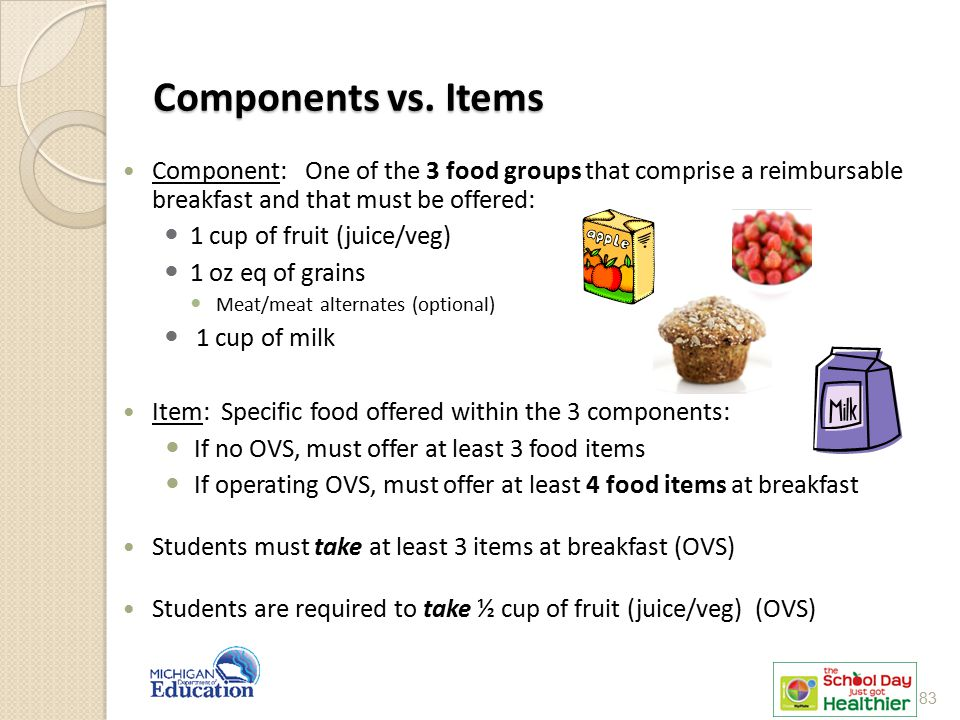 Components vs. Items Components vs. Items Component: One of the 3 food groups that comprise a reimbursable breakfast and that must be offered: 1 cup o