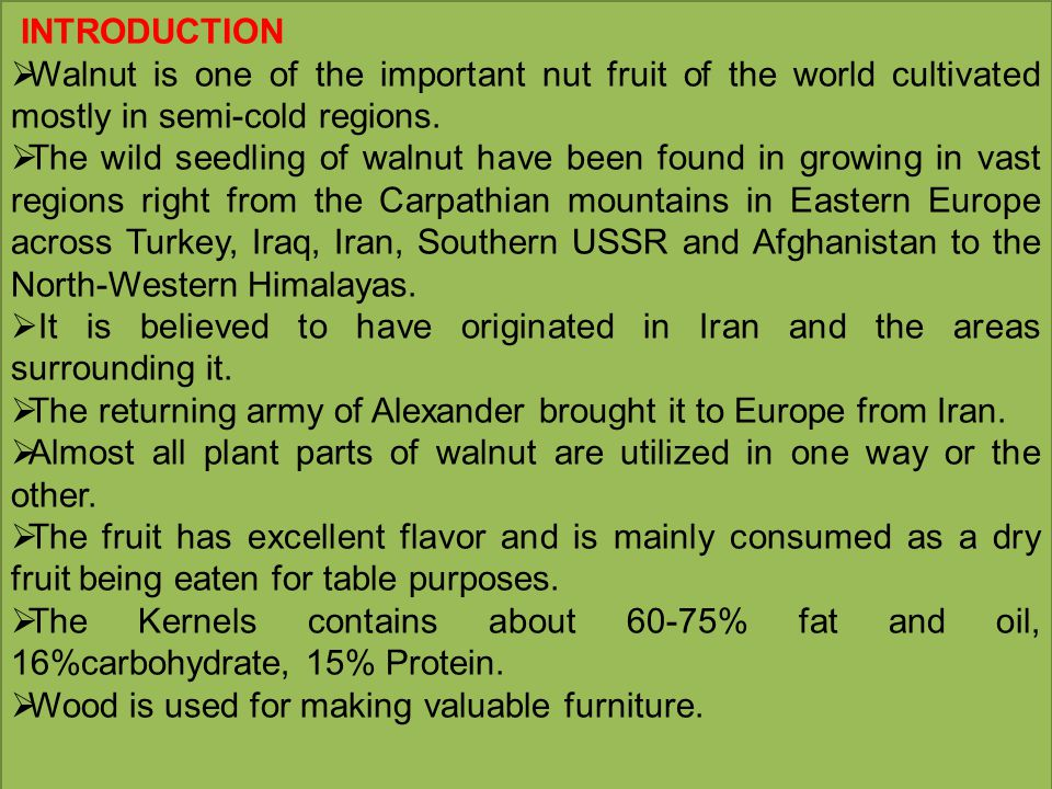 INTRODUCTION  Walnut is one of the important nut fruit of the world cultivated mostly in semi-cold regions.