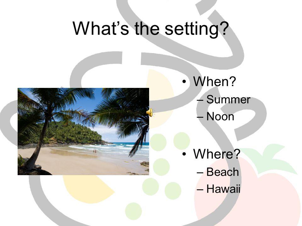 What's the setting? When? –Summer –Noon Where? –Beach –Hawaii