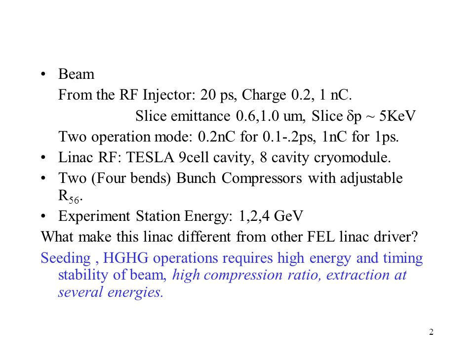 2 Beam From the RF Injector: 20 ps, Charge 0.2, 1 nC.