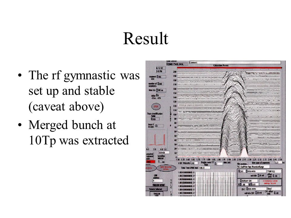 Result The rf gymnastic was set up and stable (caveat above) Merged bunch at 10Tp was extracted