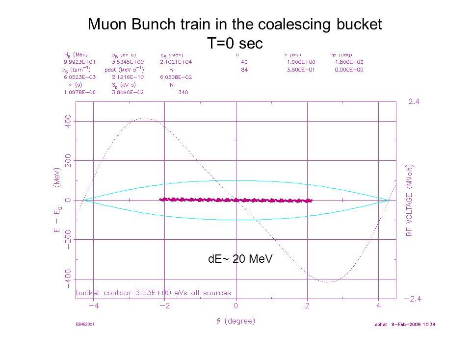 Muon Bunch train in the coalescing bucket T=0 sec dE~ 20 MeV