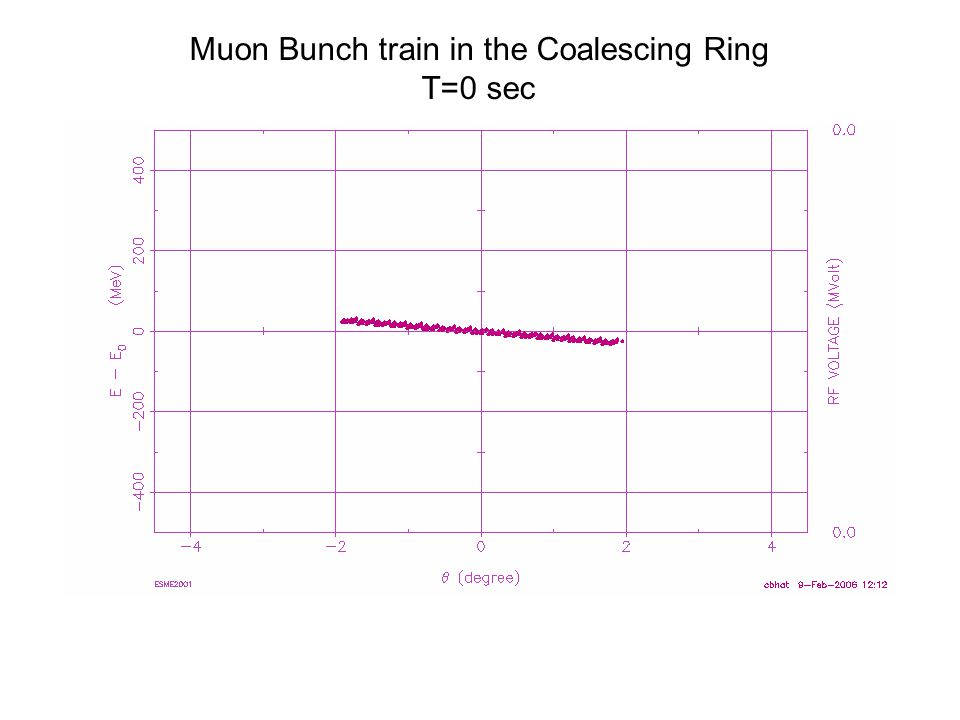 Muon Bunch train in the Coalescing Ring T=0 sec