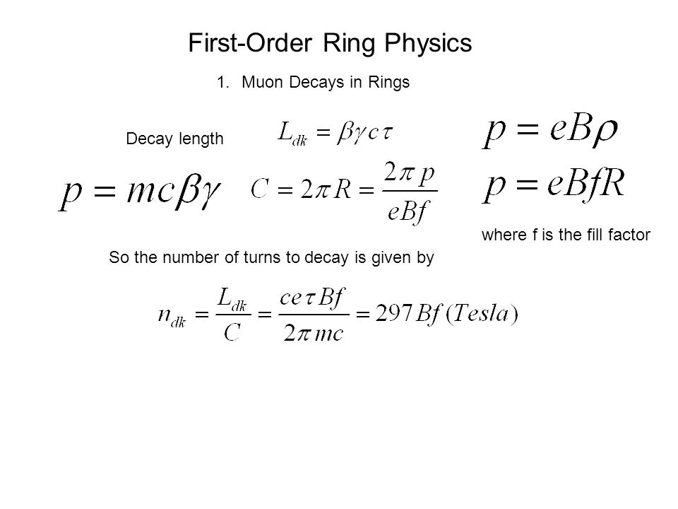 First-Order Ring Physics 1.Muon Decays in Rings Decay length So the number of turns to decay is given by where f is the fill factor