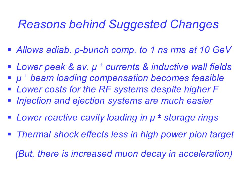Reasons behind Suggested Changes  Allows adiab. p-bunch comp.