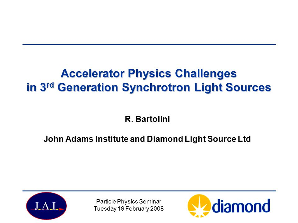 Particle Physics Seminar Tuesday 19 February 2008 Accelerator Physics Challenges in 3 rd Generation Synchrotron Light Sources R.