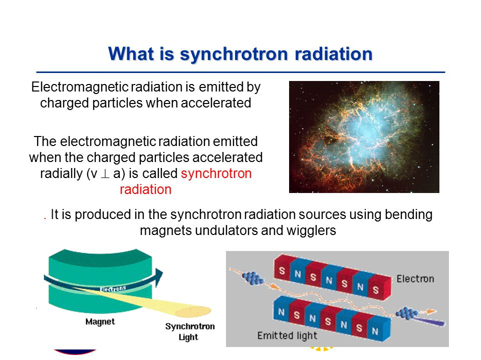 Particle Physics Seminar Tuesday 19 February 2008 What is synchrotron radiation Electromagnetic radiation is emitted by charged particles when accelerated The electromagnetic radiation emitted when the charged particles accelerated radially (v  a) is called synchrotron radiation.