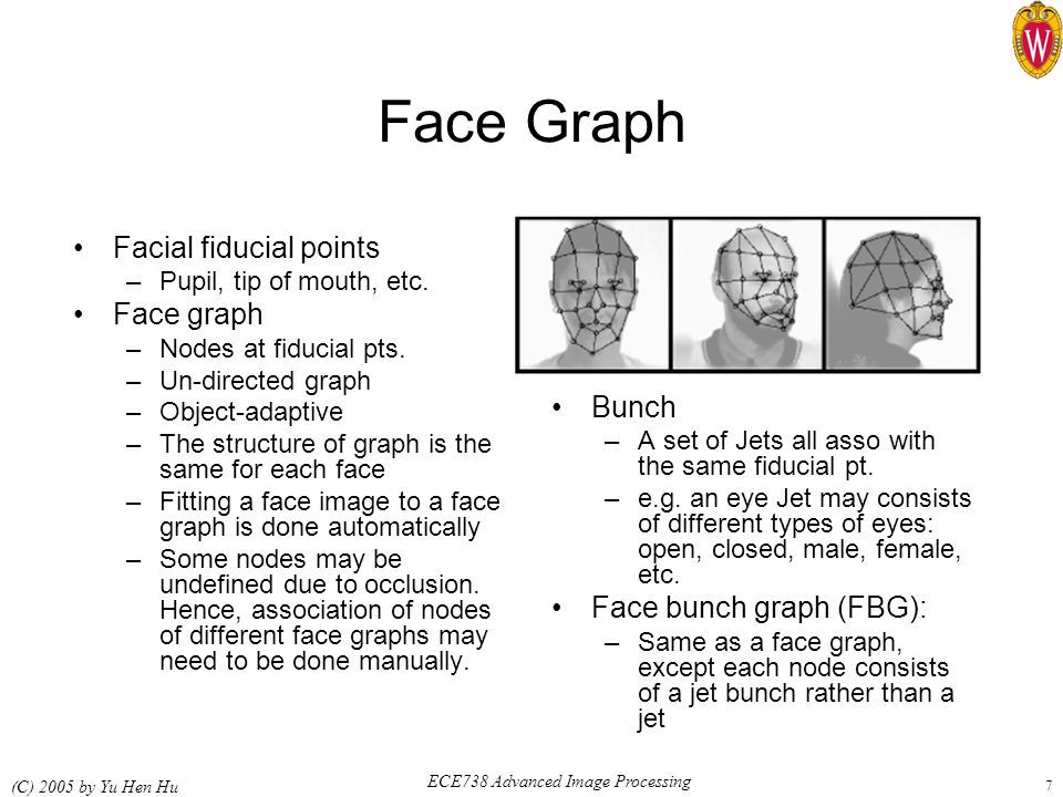 ECE738 Advanced Image Processing (C) 2005 by Yu Hen Hu 7 Face Graph Facial fiducial points –Pupil, tip of mouth, etc. Face graph –Nodes at fiducial pt