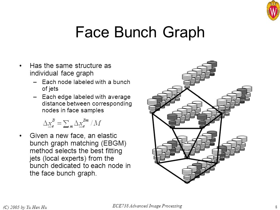 ECE738 Advanced Image Processing (C) 2005 by Yu Hen Hu 8 Face Bunch Graph Has the same structure as individual face graph –Each node labeled with a bunch of jets –Each edge labeled with average distance between corresponding nodes in face samples Given a new face, an elastic bunch graph matching (EBGM) method selects the best fitting jets (local experts) from the bunch dedicated to each node in the face bunch graph.