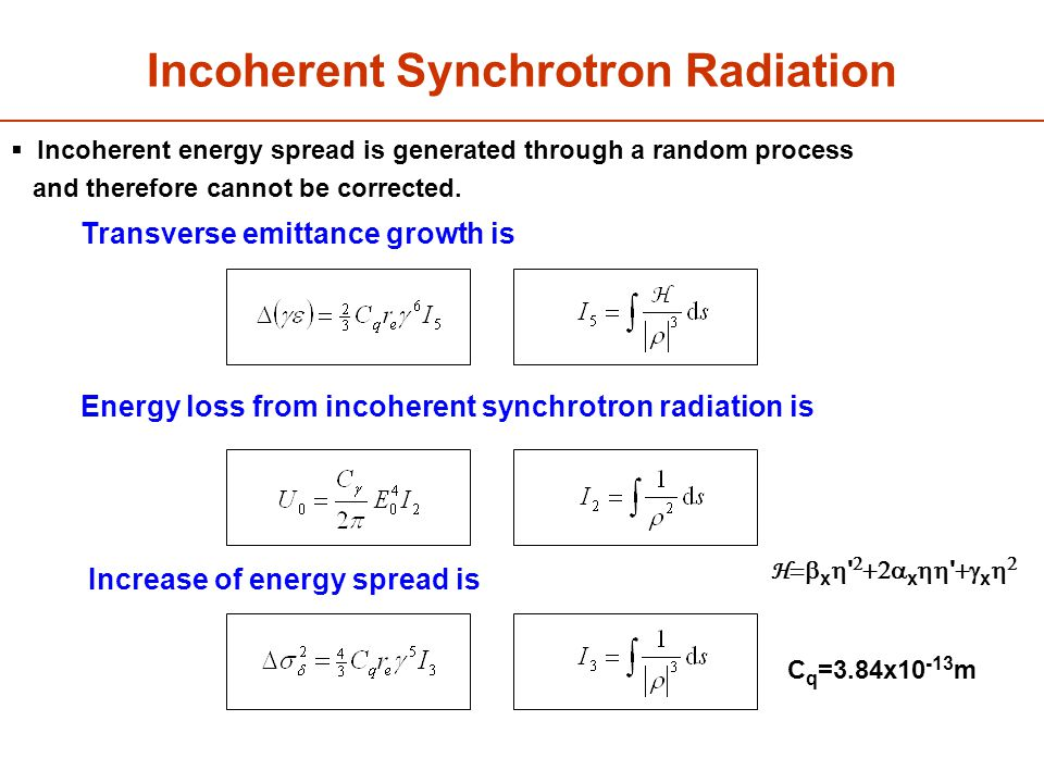 Incoherent Synchrotron Radiation The increase in energy spread is given by: The energy loss from incoherent synchrotron radiation is: Transverse emittance growth is Energy loss from incoherent synchrotron radiation is Increase of energy spread is C q =3.84x10 -13 m H  x    x   x    Incoherent energy spread is generated through a random process and therefore cannot be corrected.