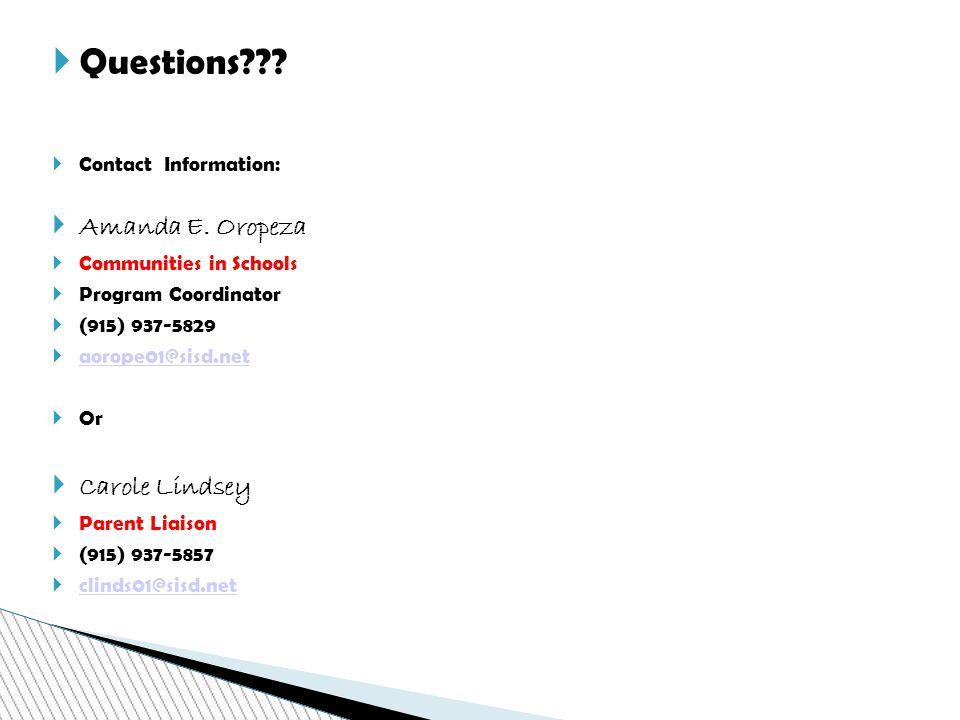  Questions .  Contact Information:  Amanda E.