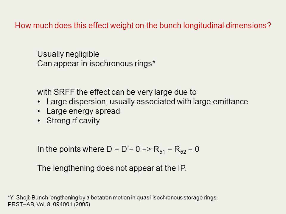 How much does this effect weight on the bunch longitudinal dimensions.