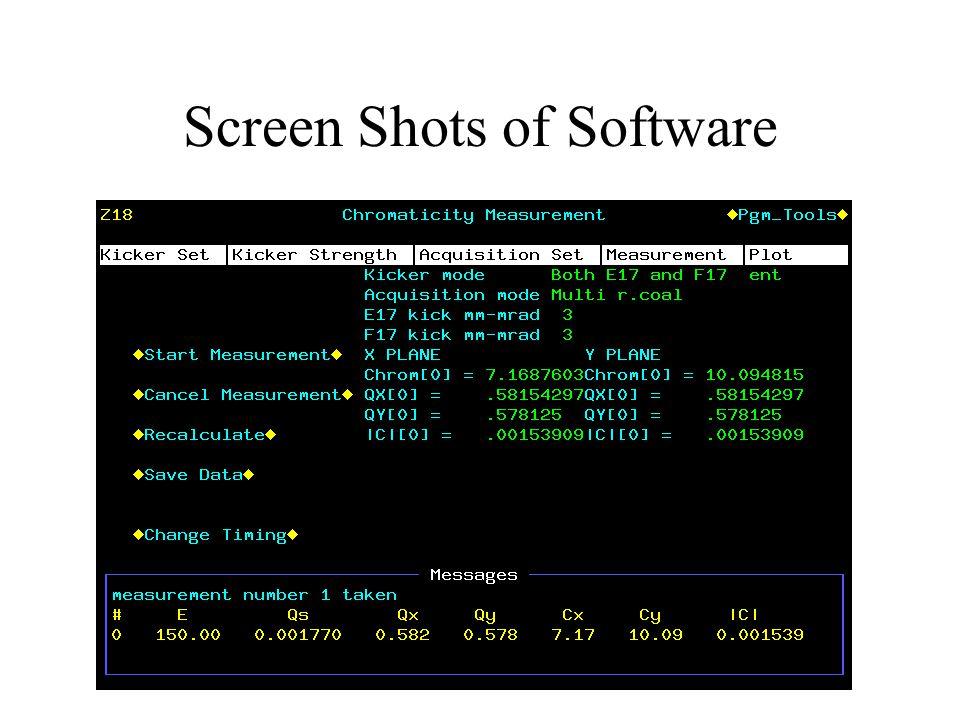 Screen Shots of Software