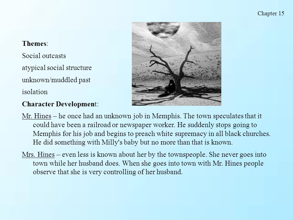 Themes: Social outcasts atypical social structure unknown/muddled past isolation Character Development: Mr. Hines – he once had an unknown job in Memp