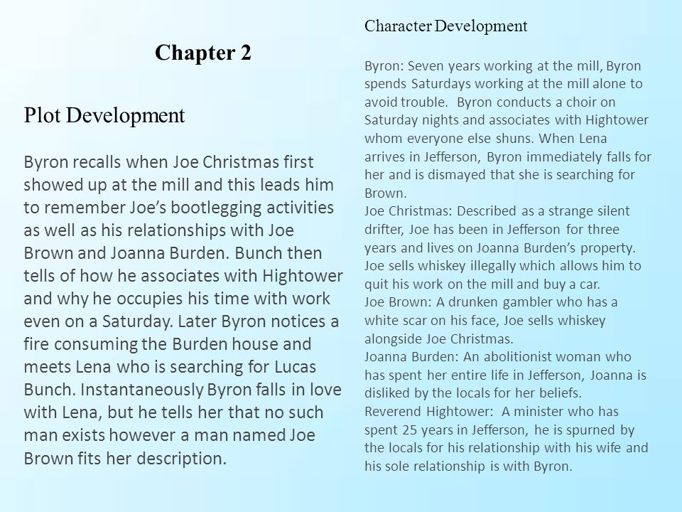 Character development Byron: for the first time, realize he was nothing to her at that moment, realizing he is digging himself the impossible hole Doctor Hines has not changed through the chapter shows is cunningness when he tricks his wife to leave toward town.
