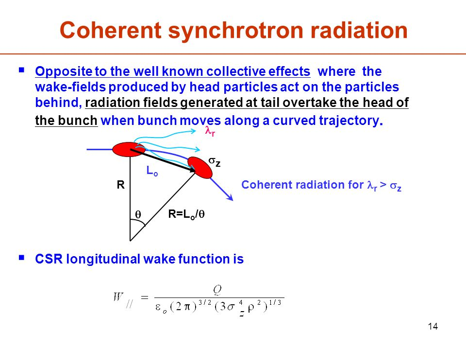 14 Coherent synchrotron radiation  Opposite to the well known collective effects where the wake-fields produced by head particles act on the particles behind, radiation fields generated at tail overtake the head of the bunch when bunch moves along a curved trajectory.