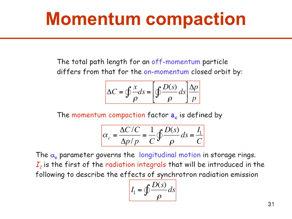 31 Momentum compaction