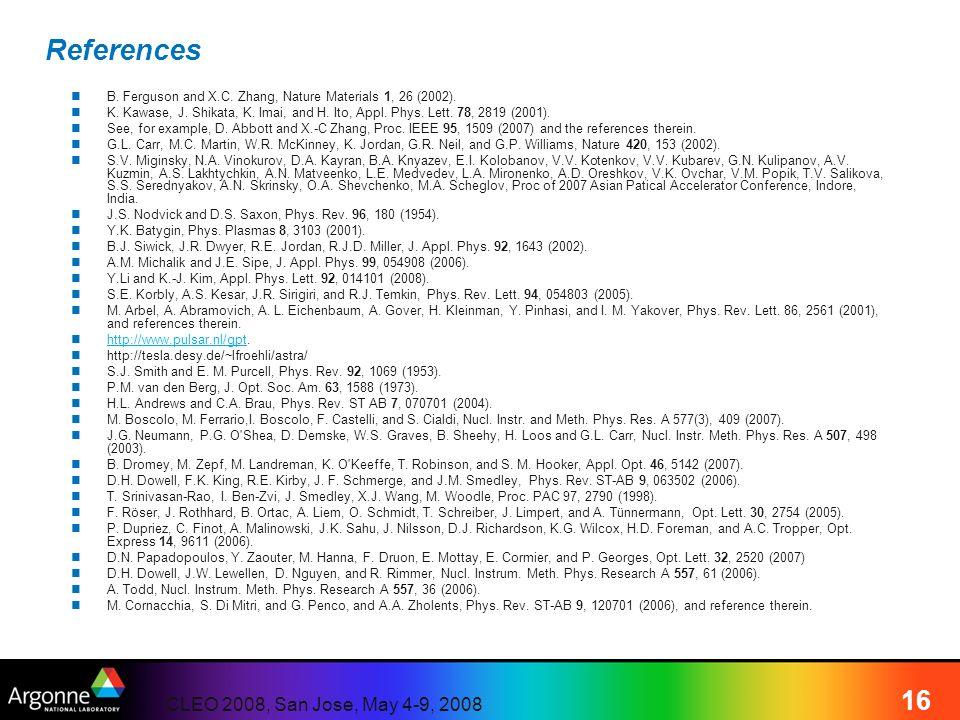 CLEO 2008, San Jose, May 4-9, 2008 16 References B. Ferguson and X.C. Zhang, Nature Materials 1, 26 (2002). K. Kawase, J. Shikata, K. Imai, and H. Ito