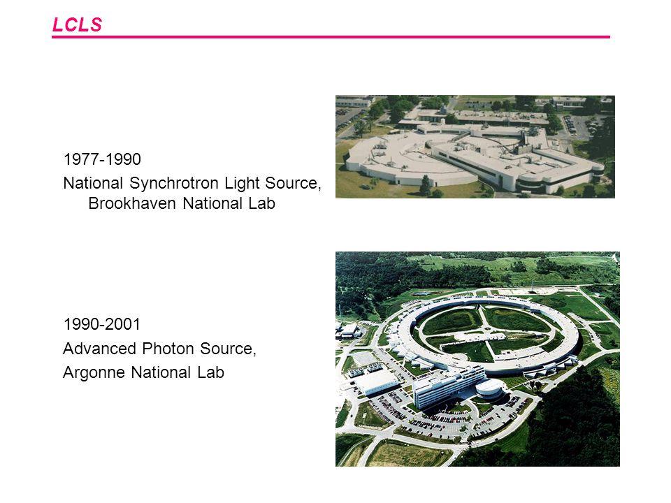LCLS 1977-1990 National Synchrotron Light Source, Brookhaven National Lab 1990-2001 Advanced Photon Source, Argonne National Lab