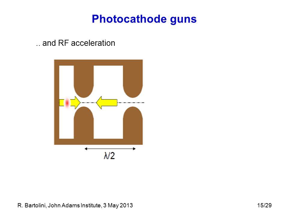 Photocathode guns.. and RF acceleration 15/29R. Bartolini, John Adams Institute, 3 May 2013