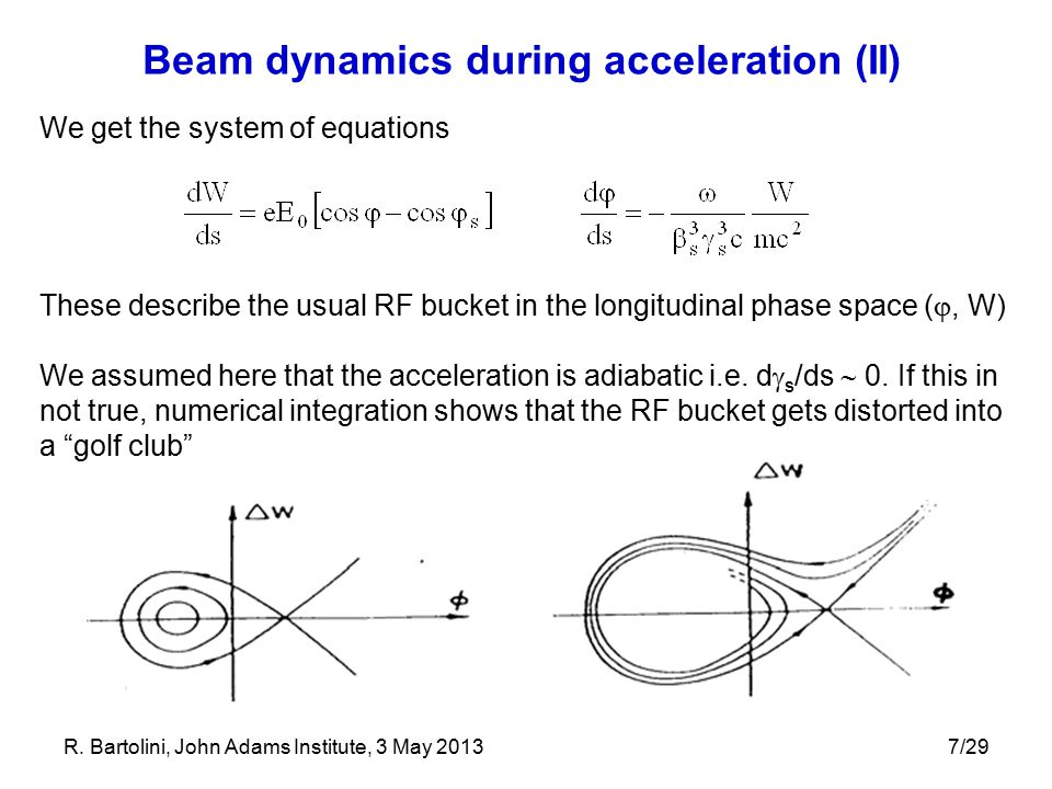 7/29 Beam dynamics during acceleration (II) We get the system of equations These describe the usual RF bucket in the longitudinal phase space ( , W) We assumed here that the acceleration is adiabatic i.e.