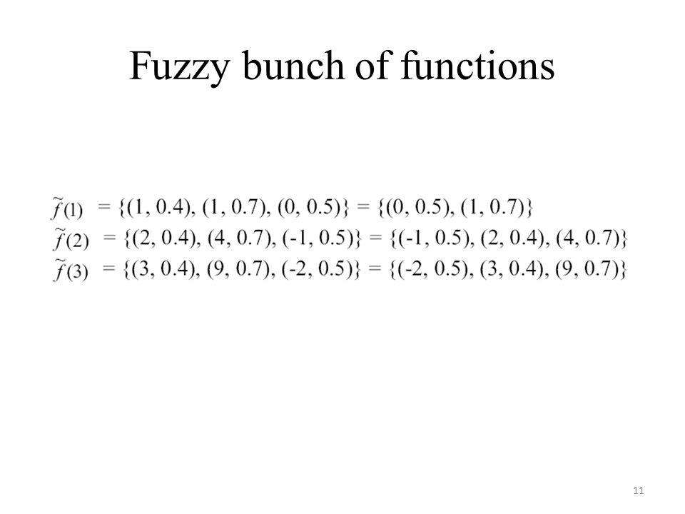 Fuzzy bunch of functions 11