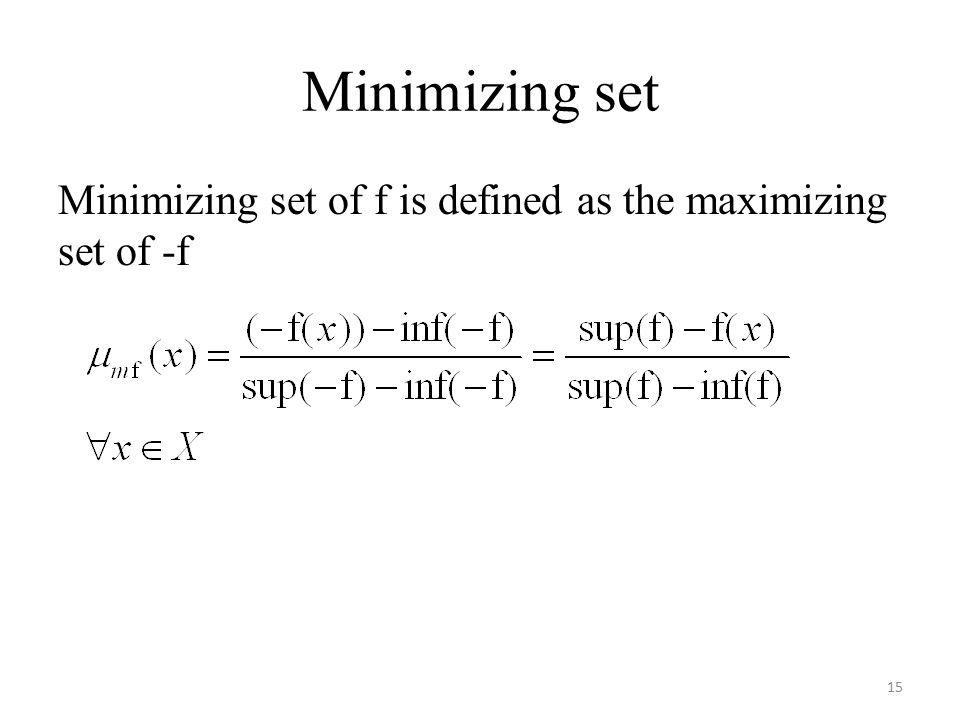 Minimizing set Minimizing set of f is defined as the maximizing set of -f 15