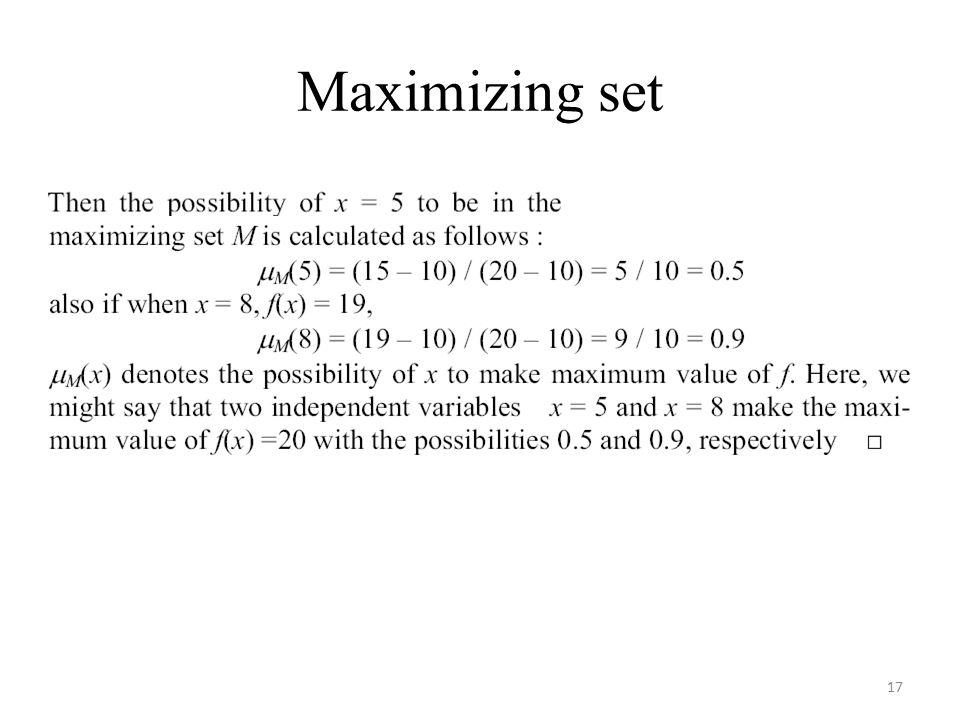 Maximizing set 17