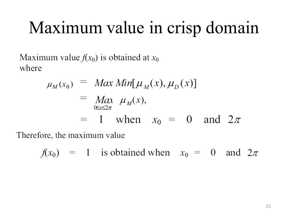 Maximum value in crisp domain 21