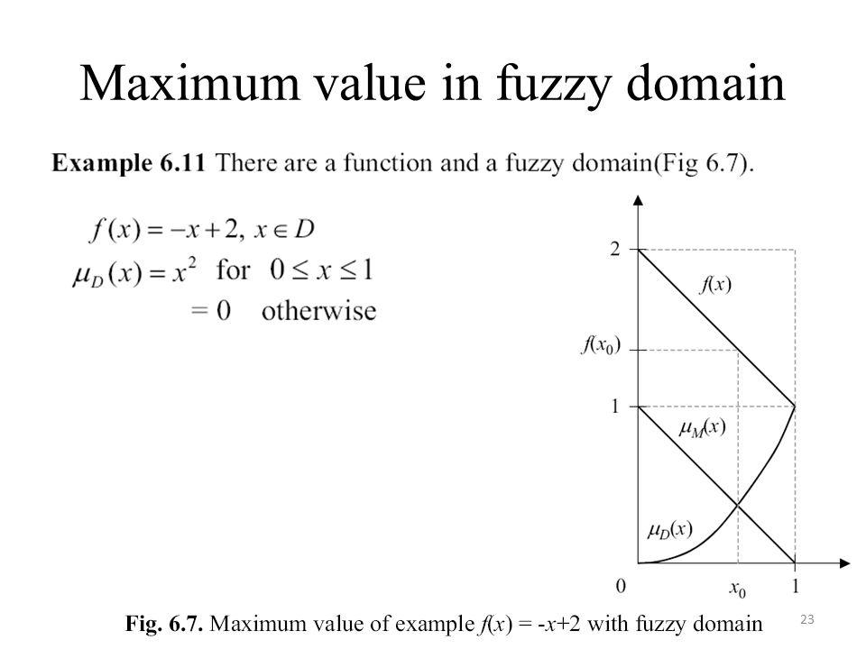 Maximum value in fuzzy domain 23