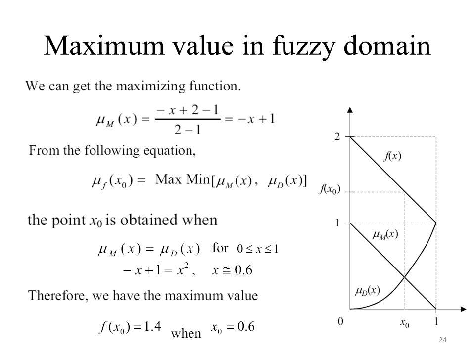 Maximum value in fuzzy domain 24